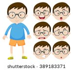 little boy with glasses and... | Shutterstock .eps vector #389183371