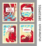 set of creative universal cards.... | Shutterstock .eps vector #389209501