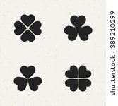 flat monochrome clover icon set ...