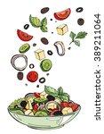 fresh salad  organic food ... | Shutterstock .eps vector #389211064