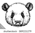 engrave ink draw panda... | Shutterstock .eps vector #389221279