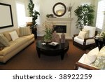 living room with a fireplace... | Shutterstock . vector #38922259