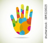 abstract single hand made from... | Shutterstock .eps vector #389223025