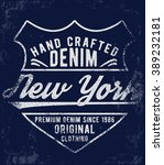vintage denim label design  t... | Shutterstock .eps vector #389232181