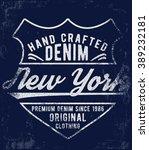 vintage denim label design  t... | Shutterstock .eps vector #389232181