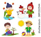 boy and the four seasons  ... | Shutterstock .eps vector #389232544