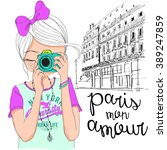 beautiful cute girl in paris... | Shutterstock .eps vector #389247859