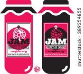 organic raspberry jam labels... | Shutterstock .eps vector #389254855