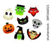 set of vector cartoon halloween ... | Shutterstock .eps vector #389266021