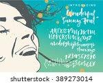 sunny script. vector alphabet.... | Shutterstock .eps vector #389273014