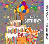 birthday card. celebration grey ... | Shutterstock .eps vector #389275231