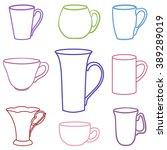 set of colored cups in a vector ... | Shutterstock .eps vector #389289019