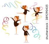 little girl gymnast practicing... | Shutterstock .eps vector #389290435