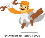 mechanic hero wrench | Shutterstock .eps vector #389341921