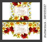 invitation with floral... | Shutterstock .eps vector #389355337