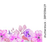 purple watercolor flower... | Shutterstock . vector #389358619