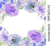 blue watercolor flowers wreath. ...   Shutterstock . vector #389365141