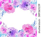 purple watercolor flowers... | Shutterstock . vector #389365159