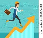 woman running on growth graph.  | Shutterstock . vector #389366701