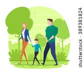 happy family walking in the park | Shutterstock .eps vector #389381824