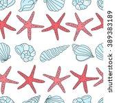 seashells and sea stars icons... | Shutterstock .eps vector #389383189