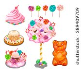 set of bright candies  cakes... | Shutterstock .eps vector #389409709