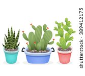 set of cute cartoon cactuses... | Shutterstock .eps vector #389412175