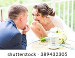funny bride and crazy groom  on ... | Shutterstock . vector #389432305