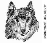 hand drawn head of wolf. vector ... | Shutterstock .eps vector #389433949