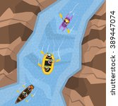 Rafting On River Top View With...