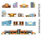 Shopping mall building orthogonal icons set with cafe and clothes symbols flat isolated vector illustration  | Shutterstock vector #389447215