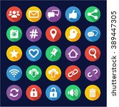 social media icons flat design... | Shutterstock .eps vector #389447305