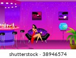 the beautiful girl sits at a... | Shutterstock .eps vector #38946574