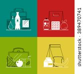 different lunchboxes on... | Shutterstock .eps vector #389470741