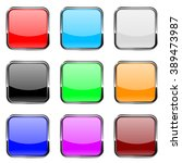 square buttons. shiny colored... | Shutterstock .eps vector #389473987