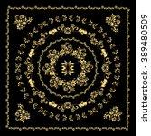 gold bandana silk scarf. | Shutterstock .eps vector #389480509