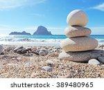 Balanced Stones On The Beach O...
