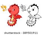 Cute Little Red Dragon. Cartoo...