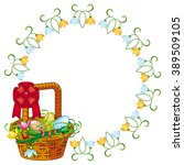 round frame with easter basket | Shutterstock .eps vector #389509105