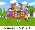 children play unicycle and... | Shutterstock .eps vector #389514991