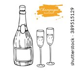 vector champagne bottle and...   Shutterstock .eps vector #389515129