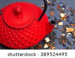 traditional japanese red teapot ...