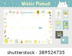 cute calendar weekly planner... | Shutterstock .eps vector #389524735