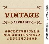 vintage alphabet font. type... | Shutterstock .eps vector #389524801