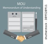 mou memorandum of understanding  | Shutterstock .eps vector #389528911