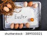 easter eggs on wooden... | Shutterstock . vector #389533321