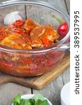 Small photo of Fricassee of chicken spicy with peppers.