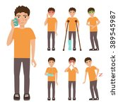 boy. set with sick people.... | Shutterstock .eps vector #389545987
