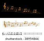 flowing lines with gold musical ... | Shutterstock .eps vector #38954866