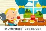 cartoon boy eating in the...   Shutterstock . vector #389557387